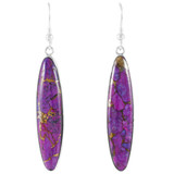 Sterling Silver Drop Earrings Purple Turquoise E1309-C77