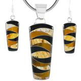 Tiger Eye Pendant & Earrings Set Sterling Silver PE4030-C33