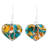 Spiny Turquoise Heart Earrings Sterling Silver E1316-C89