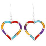 Sterling Silver Heart Earrings Multi Gemstones E1315-C01