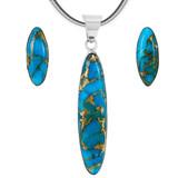 Matrix Turquoise Pendant & Earrings Set Sterling Silver PE4008-C84