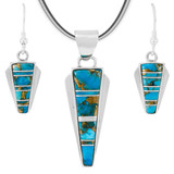 Matrix Turquoise Pendant & Earrings Set Sterling Silver PE4033-C84