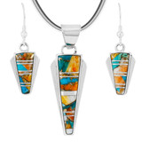 Spiny Turquoise Pendant & Earrings Set Sterling Silver PE4033-C89
