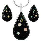 Black & Opal Shooting Stars Pendant & Earrings Set Sterling Silver PE4057-C27