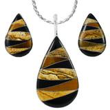 Tiger Eye Pendant & Earrings Set Sterling Silver PE4057-C33