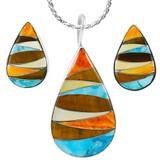 Multi-Gemstone Turquoise Pendant & Earrings Set Sterling Silver PE4057-C41