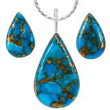 Sterling Silver Pendant & Earrings Set Matrix Turquoise PE4057-C84