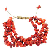 Red Coral Nugget Bracelet YB8014-C4