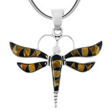 Tiger's Eye Dragonfly Pendant Sterling Silver P3138-C33