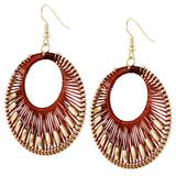 Faux Beaded Drop Earrings Rust YE7006-C4