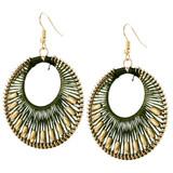Faux Beaded Drop Earrings Green YE7006-C5