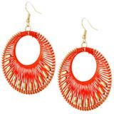 Faux Beaded Drop Earrings Red Orange YE7006-C6