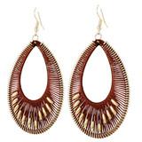 Faux Beaded Drop Earrings Rust YE7007-C4