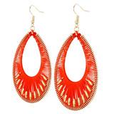 Faux Beaded Drop Earrings Red Orange YE7007-C6