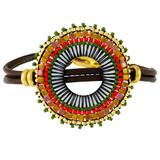 Leather Fancy Beads Wrap Bracelet Earth-Tone YB8018-C1