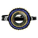 Leather Fancy Beads Wrap Bracelet Navy YB8018-C2