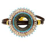Leather Fancy Beads Wrap Bracelet Pastel YB8018-C3