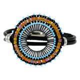 Leather Fancy Beads Wrap Bracelet Gothic Peach YB8018-C5