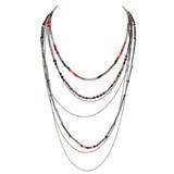 Graduating Layers Necklace Earrings Set Greys YN9002-C1