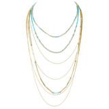Graduating Layers Necklace Earrings Set Sky Blue YN9002-C2