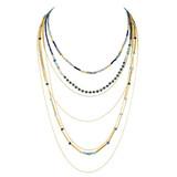 Graduating Layers Necklace Earrings Set Sapphire YN9002-C4