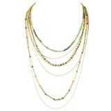 Graduating Layers Necklace Earrings Set Greens YN9002-C5