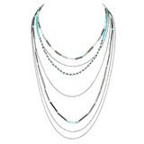 Graduating Layers Necklace Earrings Set Aventurine Blues YN9002-C6