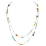 Double-Layers Necklace Earrings Set Blues YN9004-C1