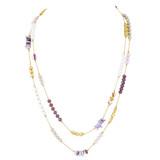 Double-Layers Necklace Earrings Set Purples YN9004-C2
