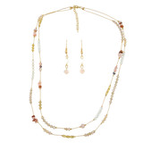 Double-Layers Necklace Earrings Set Peachy Pinks YN9004-C3