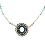 Modern Vintage Beaded Necklace Earthy Blues YN9003-C1