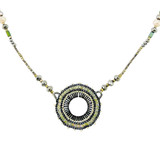 Modern Vintage Beaded Necklace Greys and Greens YN9003-C2