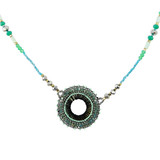 Modern Vintage Beaded Necklace Blues and Greens YN9003-C3