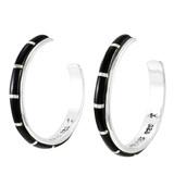 Black Shell Hoop Earrings Sterling Silver E1255-C11