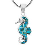 Matrix Turquoise Sea Horse Pendant Sterling Silver P3149-SM-C84