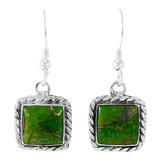 Green Turquoise Earrings Sterling Silver E1271-C76