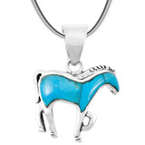 Turquoise Horse Pendant Sterling Silver P3109-C75