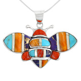 Sterling Silver Bee Pendant Multi Gemstone P3156-C01-MED