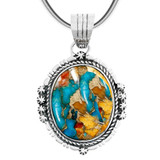 Spiny Turquoise Pendant Sterling Silver P3280-C89