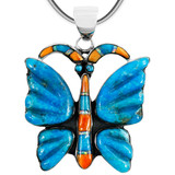 Turquoise Butterfly Pendant Sterling Silver P3283-C75