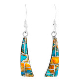 Sterling Silver Drop Earrings Spiny Turquoise E1289-C89