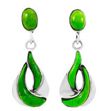 Green Turquoise Earrings Sterling Silver E1338-C76