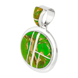 Green Turquoise Pendant Sterling Silver P3082-LG-C06