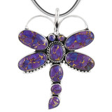 Sterling Silver Dragonfly Pendant Purple Turquoise P3083-C77