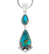 Sterling Silver Dangle Pendant Matrix Turquoise P3061-C84