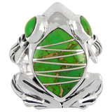 Frog Ring Sterling Silver Green Turquoise R2266-C06