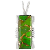 Green Turquoise Pendant Sterling Silver P3044-LG-C76