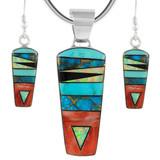 Sterling Silver Pendant & Earrings Set Multi Gemstone PE4030-C01