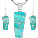 Sterling Silver Pendant & Earrings Set Turquoise PE4030-C05