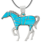 Horse Jewelry Pendant Sterling Silver Turquoise P3049-SM-C05B